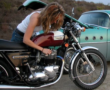 With my 77 Bonneville